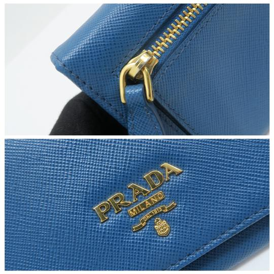 Prada Prada Blue Vitello Shine Flap Wallet Image 8