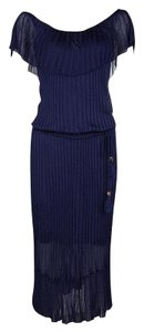 Navy Blue Maxi Dress by Gucci Perforated Knit Detail Cotton Nylon