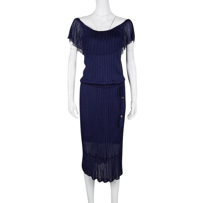 Navy Blue Maxi Dress by Gucci Perforated Knit Detail Cotton Nylon Image 1