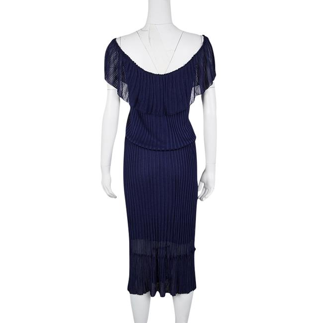 Navy Blue Maxi Dress by Gucci Perforated Knit Detail Cotton Nylon Image 2
