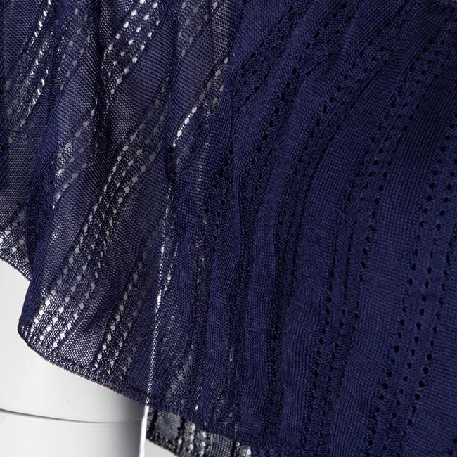 Navy Blue Maxi Dress by Gucci Perforated Knit Detail Cotton Nylon Image 3