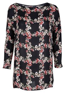 Dolce&Gabbana Floral Silk Checked Top Black
