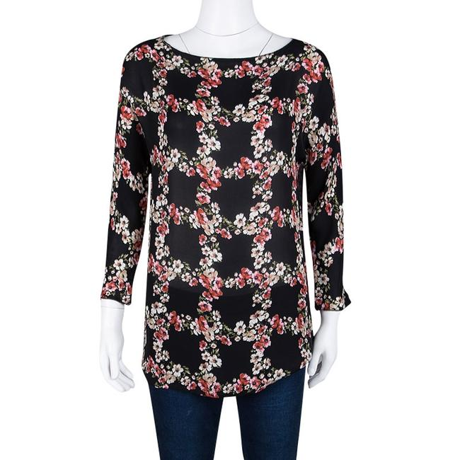 Dolce&Gabbana Floral Silk Checked Top Black Image 1