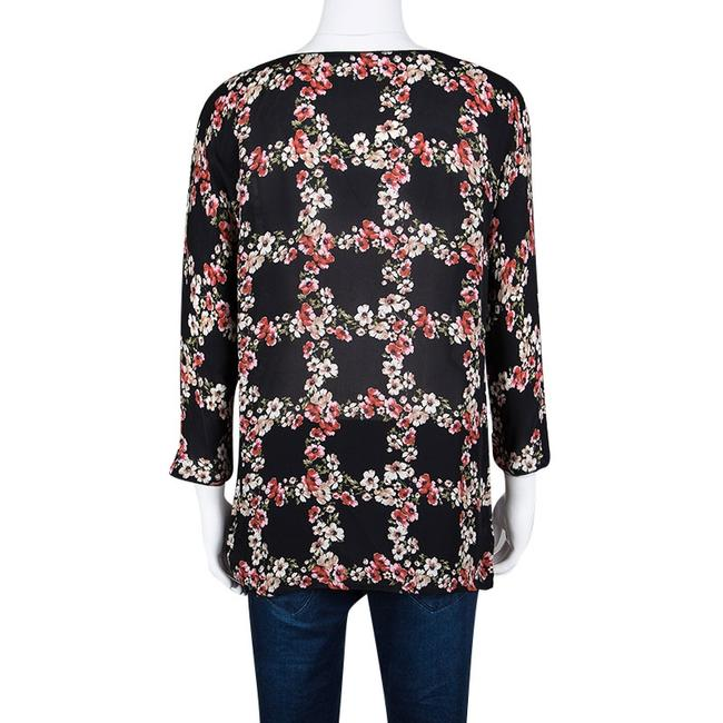 Dolce&Gabbana Floral Silk Checked Top Black Image 2