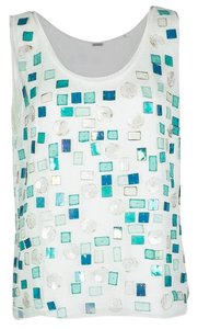 Elie Tahari Silk Embellished Sleeveless Top White