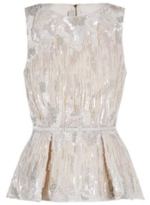 Elie Saab Embroidered Sleeveless Top White