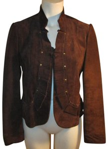 David Brooks Studded Ruffled Suede Pig Suede Onm003 brown Leather Jacket