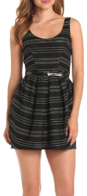 Item - Black Gray Striped Mid-length Cocktail Dress Size 2 (XS)