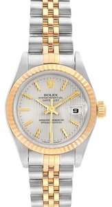 Rolex Rolex Datejust Steel Yellow Gold Silver Tapestry Dial Ladies Watch 691
