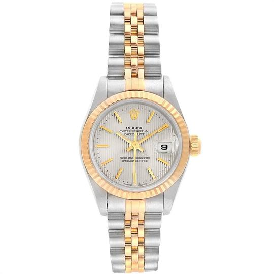 Rolex Rolex Datejust Steel Yellow Gold Silver Tapestry Dial Ladies Watch 691 Image 1