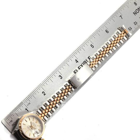 Rolex Rolex Datejust Steel Yellow Gold Silver Tapestry Dial Ladies Watch 691 Image 10