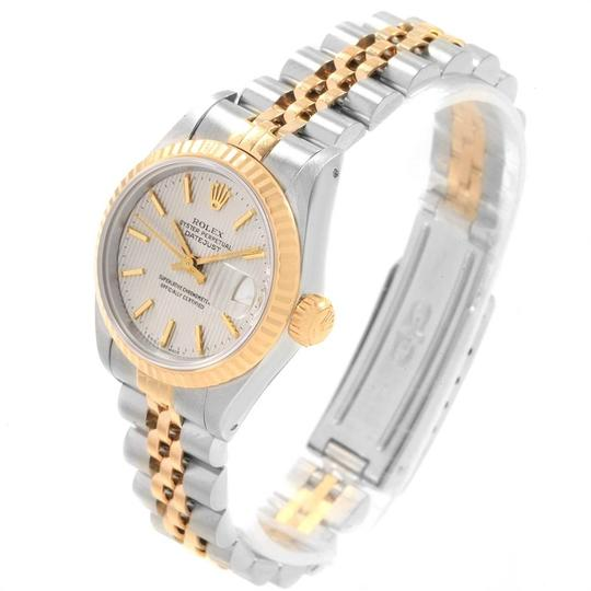 Rolex Rolex Datejust Steel Yellow Gold Silver Tapestry Dial Ladies Watch 691 Image 3