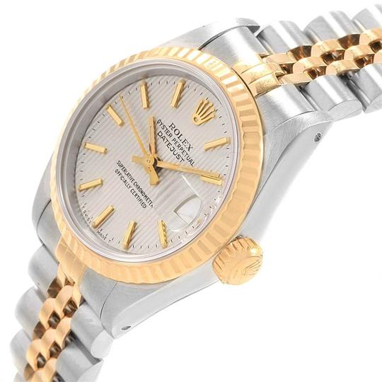 Rolex Rolex Datejust Steel Yellow Gold Silver Tapestry Dial Ladies Watch 691 Image 4