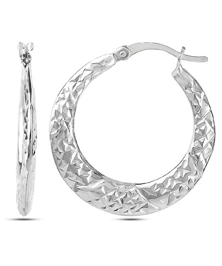 Other DIAMOND CUT HOOP 1 inch EARRINGS Image 3