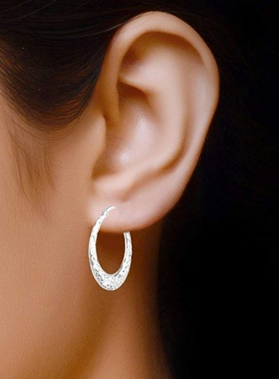 Other DIAMOND CUT HOOP 1 inch EARRINGS Image 5