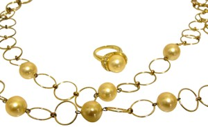 Pearlfection Pearlfection Faux Golden South Sea Pearl Necklace and Ring 7