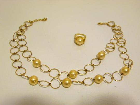 Pearlfection Pearlfection Faux Golden South Sea Pearl Necklace and Ring 7 Image 1