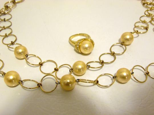 Pearlfection Pearlfection Faux Golden South Sea Pearl Necklace and Ring 7 Image 10