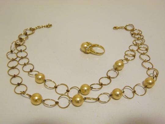 Pearlfection Pearlfection Faux Golden South Sea Pearl Necklace and Ring 7 Image 3