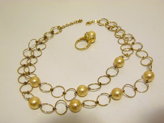 Pearlfection Pearlfection Faux Golden South Sea Pearl Necklace and Ring 7 Image 6