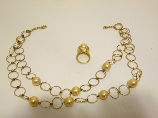 Pearlfection Pearlfection Faux Golden South Sea Pearl Necklace and Ring 7 Image 7
