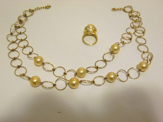 Pearlfection Pearlfection Faux Golden South Sea Pearl Necklace and Ring 7 Image 9