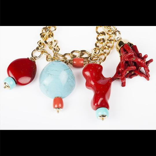 Moschino Moschino Faux Turquoise and Red Coral Charm Bracelet Image 1