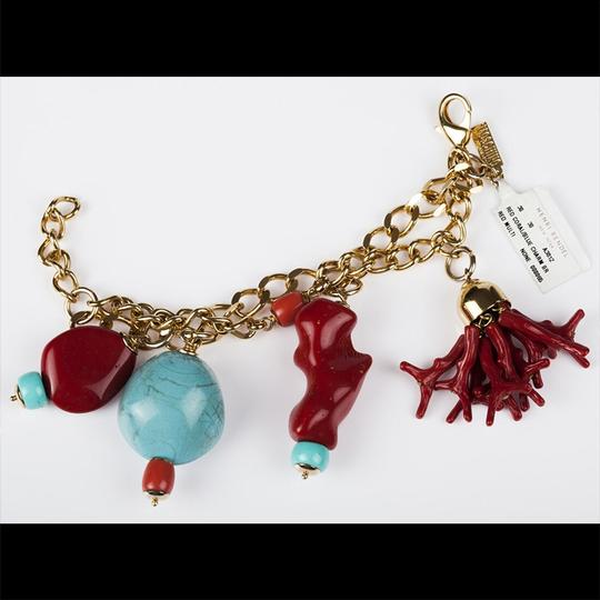 Moschino Moschino Faux Turquoise and Red Coral Charm Bracelet Image 2