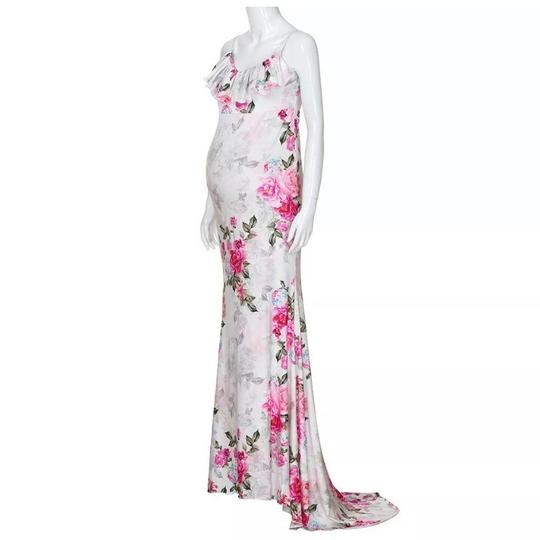 Armina Maternity White Grey Pastel Women's Large Maxi Gown Photo Baby Fitted Formal Wedding Dress Size 14 (L) Image 2