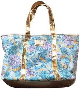 Lilly Pulitzer Preppy Sequin Resort Floral Blue, Yellow, Pink Beach Bag