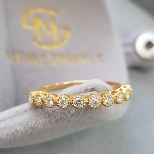 Yellow Gold Diamond Band 18k Diamond Engagement Ring