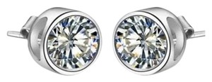 Harry Chad Bezel Setting Round Solitaire Stud Diamond Earring White Gold 4 Ct.