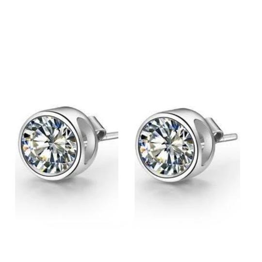 Harry Chad Bezel Setting Round Solitaire Stud Diamond Earring White Gold 4 Ct. Image 1