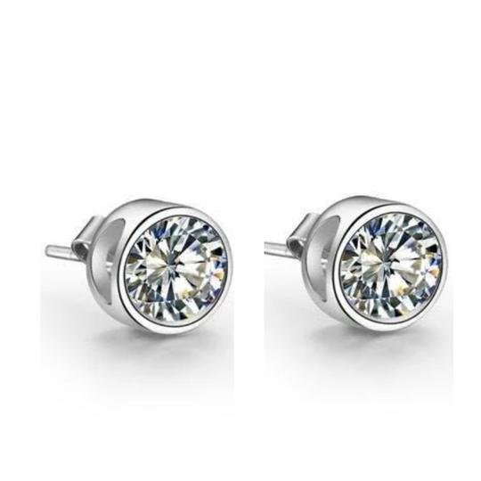 Harry Chad Bezel Setting Round Solitaire Stud Diamond Earring White Gold 4 Ct. Image 2