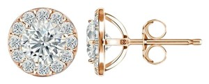 Harry Chad Rose Gold 14K Sparkling 3.50 Carats Diamonds Lady Studs Earrings