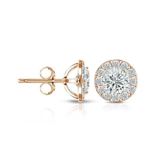 Harry Chad Rose Gold 14K Sparkling 3.50 Carats Diamonds Lady Studs Earrings Image 1