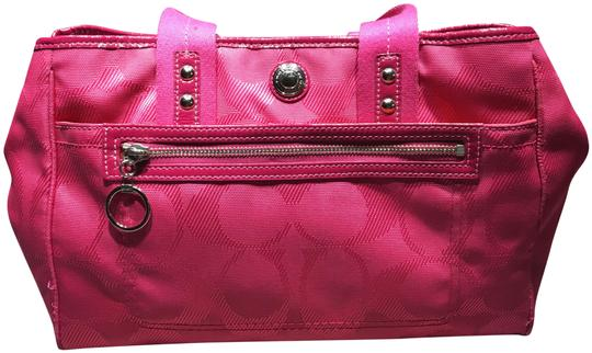 Preload https://img-static.tradesy.com/item/25782474/coach-hot-pink-patent-leather-and-canvas-satchel-0-1-540-540.jpg