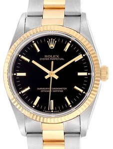 Rolex Rolex Oyster Perpetual Steel Yellow Gold Black Dial Mens Watch 14233