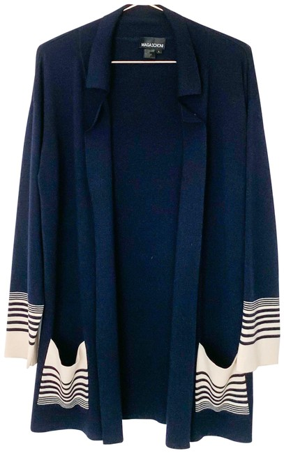 Preload https://img-static.tradesy.com/item/25782485/magaschoni-navy-cream-open-wool-cashmere-silk-blend-sweater-cardigan-size-12-l-0-1-650-650.jpg