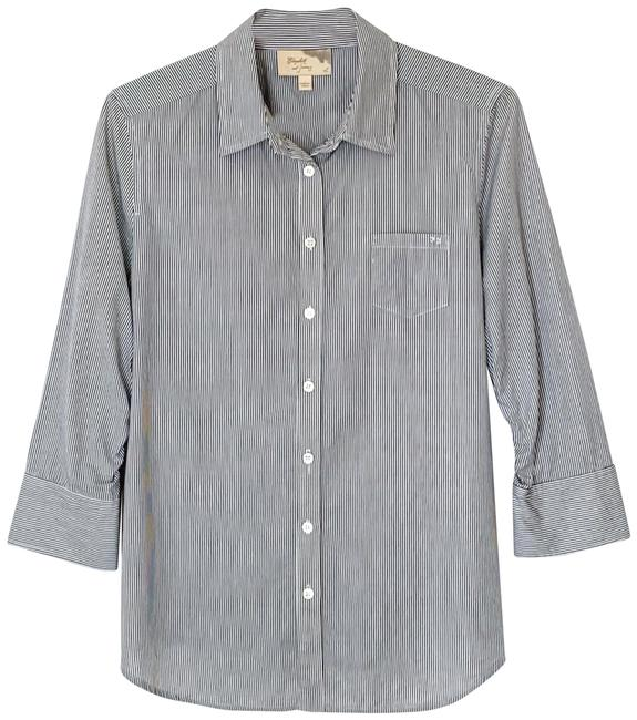Preload https://img-static.tradesy.com/item/25782502/elizabeth-and-james-navy-white-cotton-cohen-shirt-button-down-top-size-12-l-0-1-650-650.jpg
