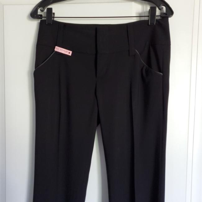 Alice + Olivia Straight Pants Black with black leather detail on pockets Image 1