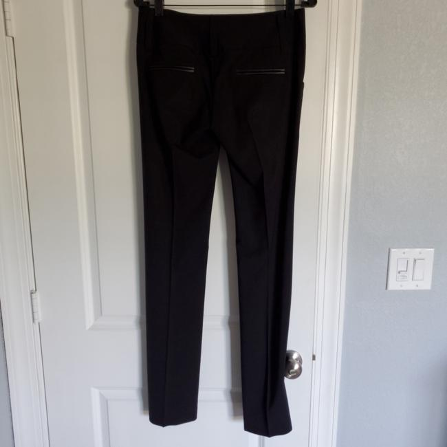 Alice + Olivia Straight Pants Black with black leather detail on pockets Image 2