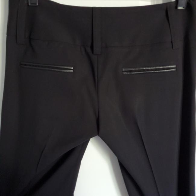 Alice + Olivia Straight Pants Black with black leather detail on pockets Image 3