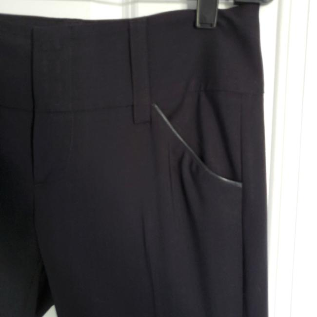 Alice + Olivia Straight Pants Black with black leather detail on pockets Image 4