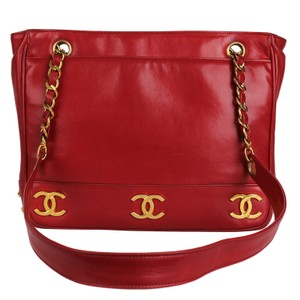 Chanel Vintage Lambskin Tote in Red