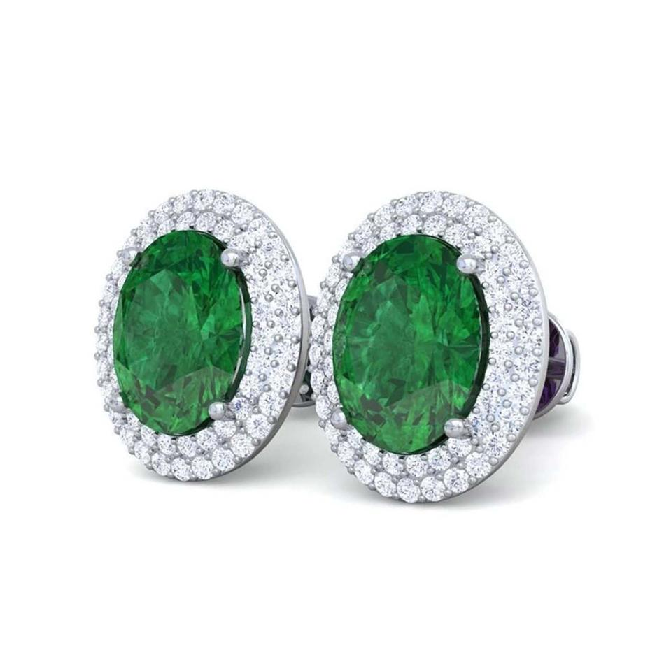 Green 14 Carats Emerald And Diamond Stud White Gold Earrings 52 Off Retail