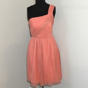 J.Crew Coral/Orange Silk Lucienne Chiffon One Shoulderdress Traditional Bridesmaid/Mob Dress Size 0 (XS)