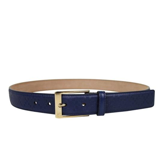 Gucci Navy Blue Square Leather Belt with Buckle 345658 4232 Groomsman Gift Image 1