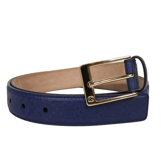 Gucci Navy Blue Square Leather Belt with Buckle 345658 4232 Groomsman Gift Image 2