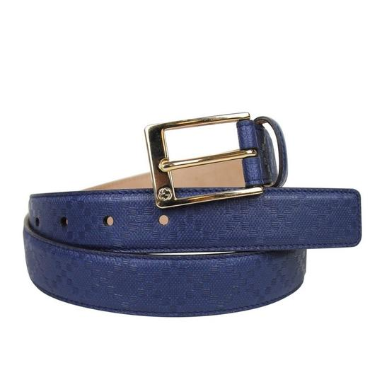 Gucci Navy Blue Square Leather Belt with Buckle 345658 4232 Groomsman Gift Image 3